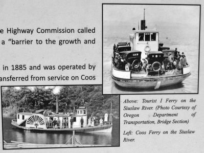 Marker Detail (<i>Tourist and Coos ferries</i>) image. Click for full size.