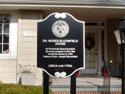 Dr. Moses Bloomfield House Marker image. Click for full size.