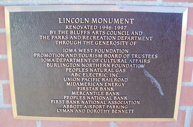 Abraham Lincoln's 1859 Visit Monument Refurbishment Marker image. Click for full size.