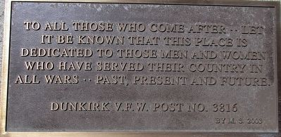 Dunkirk Veterans Memorial Marker image. Click for full size.