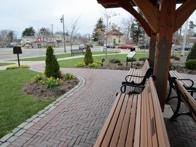 Marker & Trolley Stop at Rotary image. Click for full size.