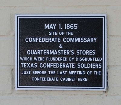 Site of the Confederate Commissary & Quartermaster's Stores Marker image. Click for full size.