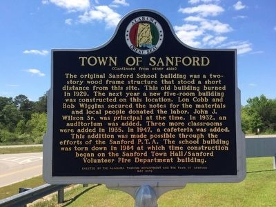 Town of Sanford Marker (Side 2) image. Click for full size.