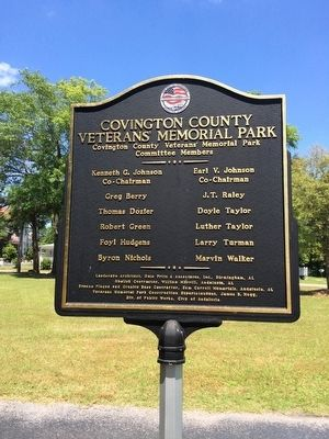 Covington County Veterans Memorial Park Marker (Reverse) image, Click for more information