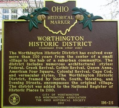 Worthington Historic District Marker image. Click for full size.