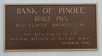 Bank of Pinole Marker image. Click for full size.