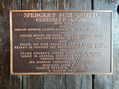 Spencer's Fish Grotto -- Centenary Plaque image. Click for full size.