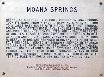 Moana Springs Marker image. Click for full size.