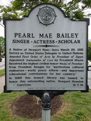 Pearl Mae Bailey Marker image. Click for full size.