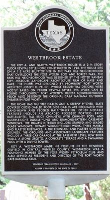 Westbrook Estate Texas Historical Marker image. Click for full size.