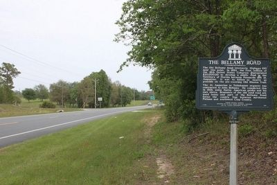 The Bellamy Road Marker looking east along FL100 image. Click for full size.