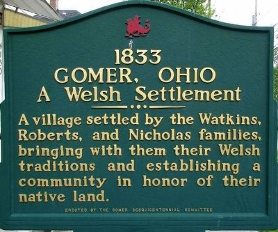 1833 Gomer, Ohio Marker image. Click for full size.
