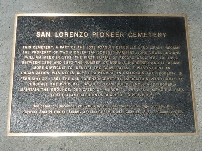 San Lorenzo Pioneer Cemetery Marker image. Click for full size.