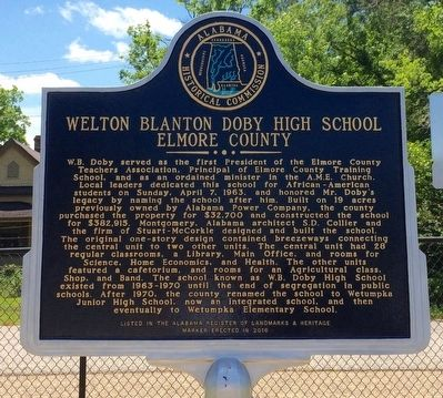 Welton Blanton Doby High School Marker image. Click for full size.