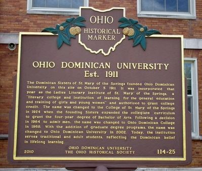 Ohio Dominican University Est. 1911 Marker image. Click for full size.