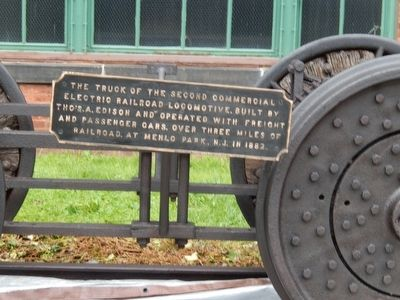 The Truck of the Second Commercial Electric Railroad Locomotive. Marker image. Click for full size.