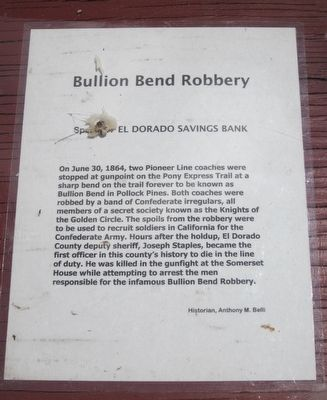 Bullion Bend Robbery Marker image. Click for full size.