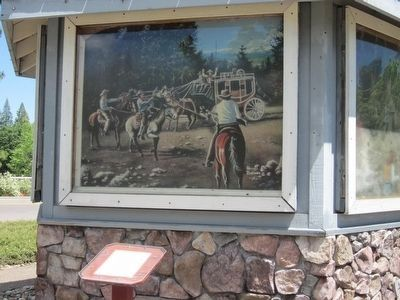 Bullion Bend Robbery Marker and Painting Depicting the Event image. Click for full size.