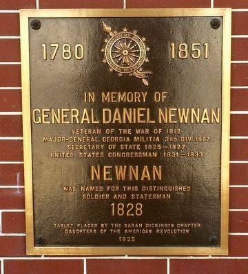 In Memory of General Daniel Newnan Marker image. Click for full size.