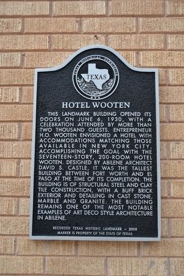 Hotel Wooten Marker image. Click for full size.