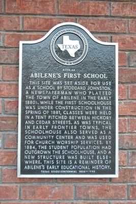 Site of Abilene's First School Marker image. Click for full size.