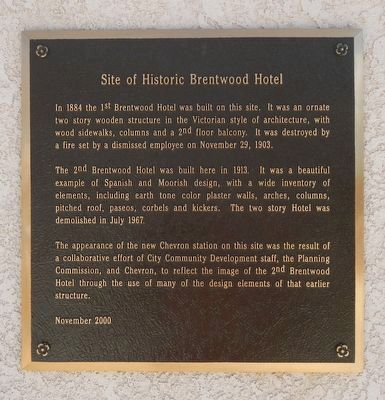 Site of Historic Brentwood Hotel Marker image. Click for full size.