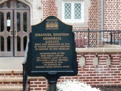 Emanuel Einstein Memorial Library Marker image. Click for full size.