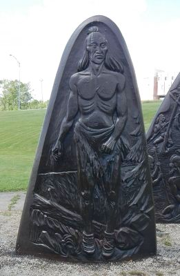 Jacques Cartier Monument Stelae 2, bas-relief image. Click for full size.