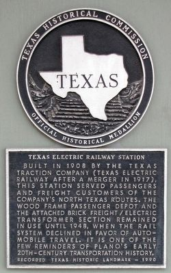 Texas Electric Railway Station Texas Historical Marker image. Click for full size.