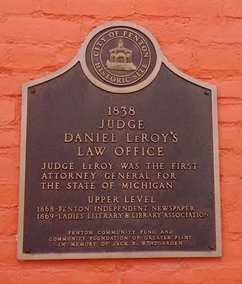 1838 Judge Daniel LeRoy's Law Office Marker image. Click for full size.
