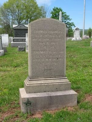 Grave of Thomas Francis and his son Thomas Francis Jr. in the Durham Cemetery image. Click for full size.