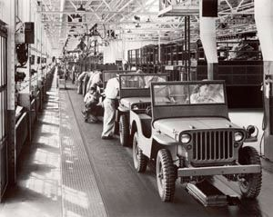Jeeps on the assembly line image. Click for full size.