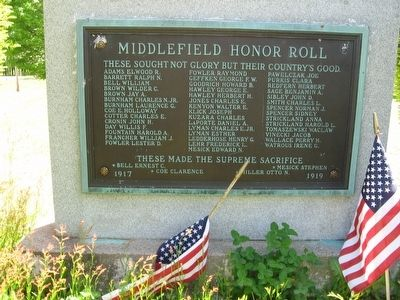Middlefield Honor Roll image. Click for full size.