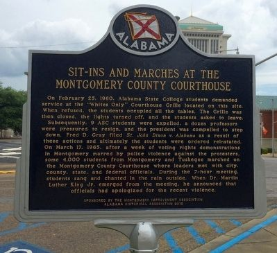Sit-Ins and Marches at the Montgomery County Courthouse Marker image. Click for full size.