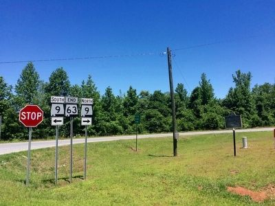 Wide view of marker near Alabama Highways 9 & 63. image. Click for full size.