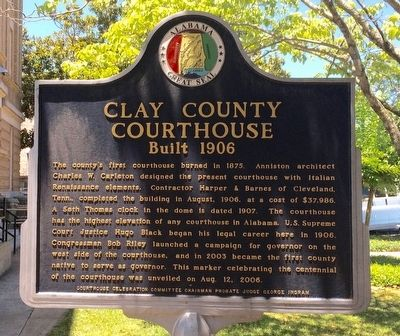 Clay County Courthouse Marker (Side 2) image. Click for full size.