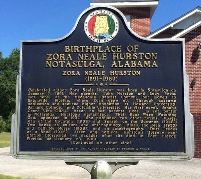 Birthplace of Zora Neale Hurston Marker (Side 1) image. Click for full size.