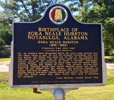 Birthplace of Zora Neale Hurston Marker (Side 2) image. Click for full size.