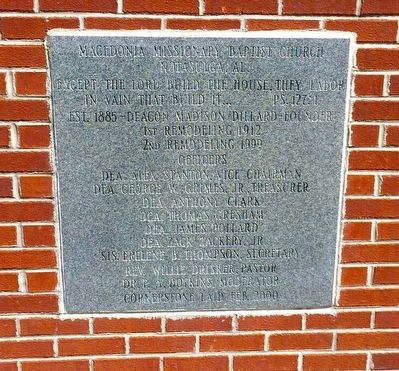 Macedonia Baptist Church cornerstone. image. Click for full size.