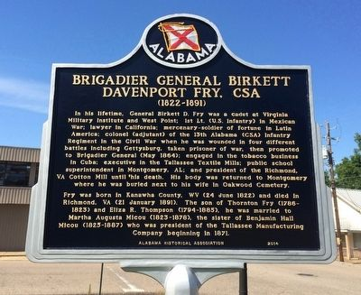 Brigadier General Birkett Davenport Fry, CSA Marker (Side 1) image. Click for full size.