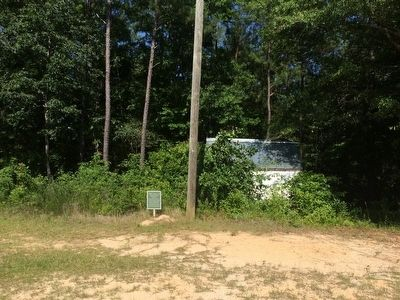 Area view of Church Privies Marker & former outdoor restrooms. image. Click for full size.