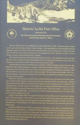 Historic La Sal Post Office Marker image. Click for full size.
