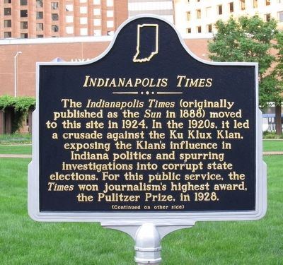 Indianapolis Times Marker image. Click for full size.