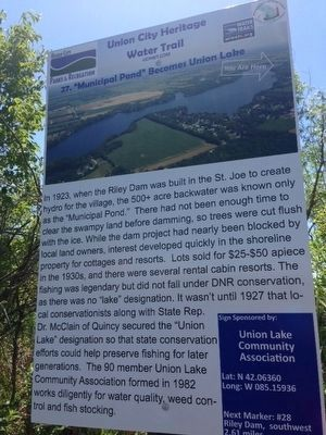 """Municipal Pond"" Becomes Union Lake Marker image. Click for full size."
