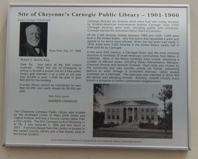 Site of Cheyenne's Carnegie Public Library -- 1901-1966 Marker image. Click for full size.