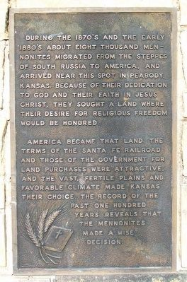 Mennonite Centennial Memorial Marker image. Click for full size.