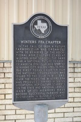 Winters FFA Chapter Marker image. Click for full size.