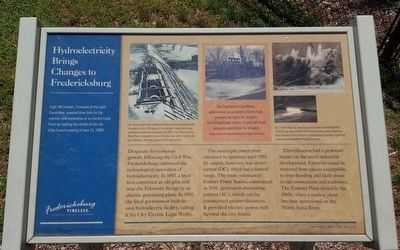 Hydroelectricity Brings Changes to Fredericksburg Marker image. Click for full size.