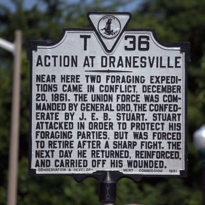 Action At Dranesville Marker image. Click for full size.
