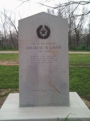 Site of the Home of Mirabeau B. Lamar Marker image. Click for full size.